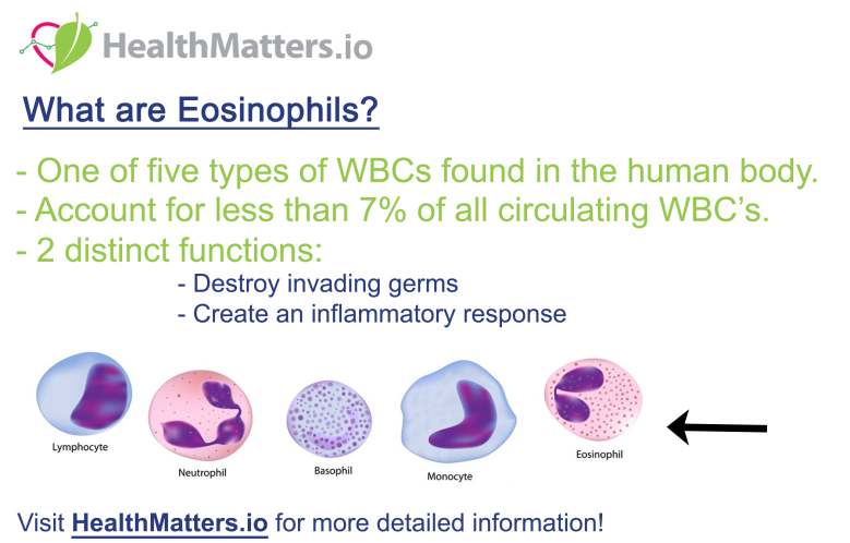 eosinophils low blood test high means function definition
