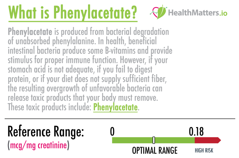 Phenylacetate high low test genova bacteria treatment reference ranges optimal