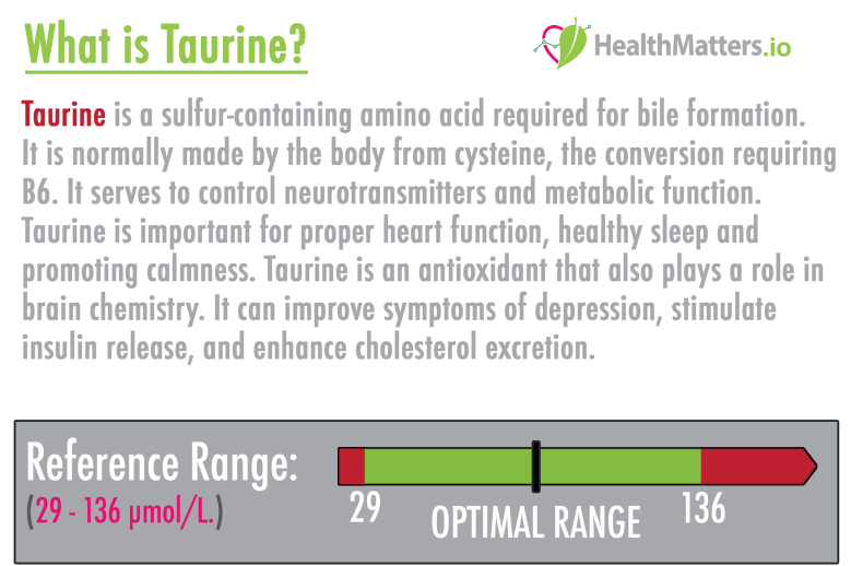 taurine definition high low meaning treatment symptoms test results genova