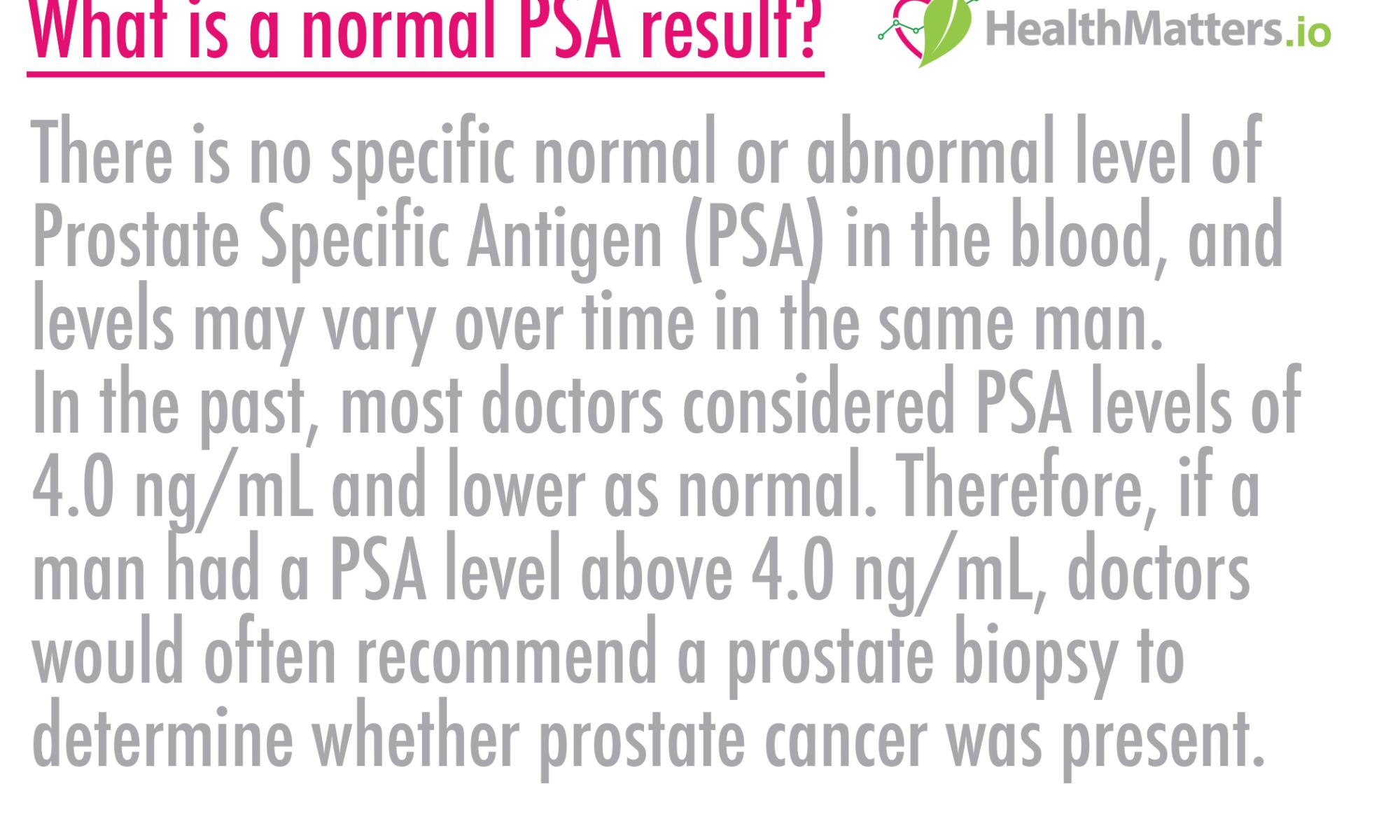 What is a normal PSA result? PSA prostate specific antigen